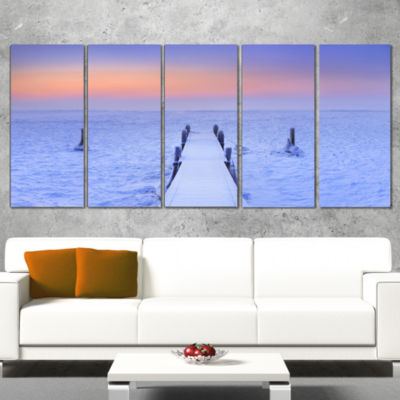 Designart Jetty In Frozen Lake Netherlands WoodenSea BridgeCanvas Wall Art - 5 Panels