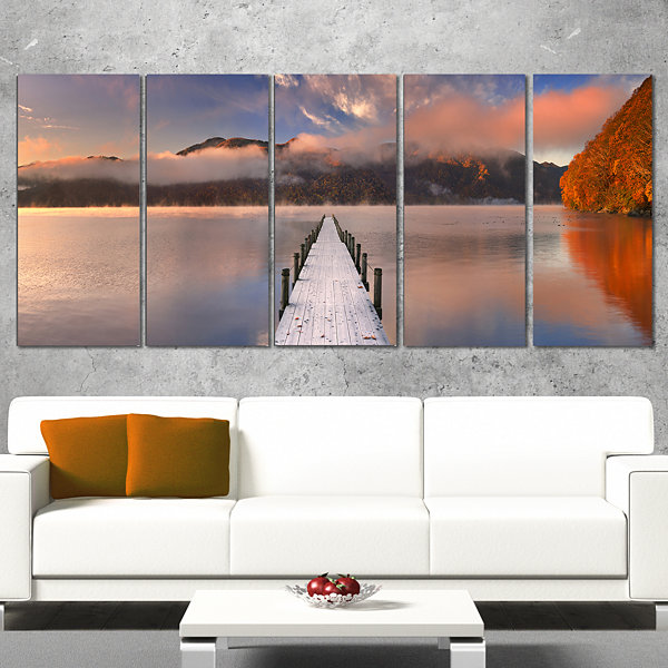 Designart Jetty In Lake Japan Seascape PhotographyCanvas Art Print - 5 Panels