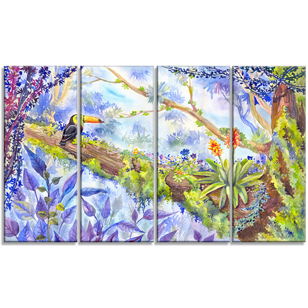 Designart Jungle With Bird Toucan On Tree Extra Large Wall Art Landscape - 4 Panels