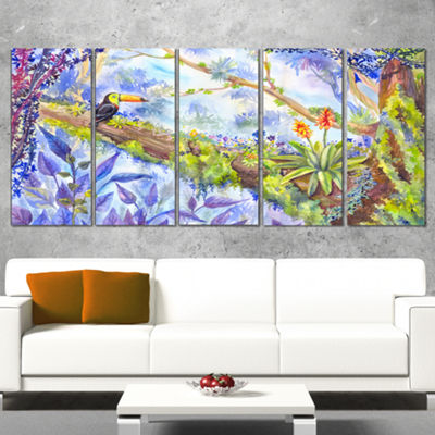 Designart Jungle With Bird Toucan On Tree Extra Large Wall Art Landscape - 5 Panels