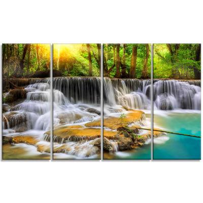 Designart Kanchanaburi Province Waterfall Photography CanvasArt Print - 4 Panels