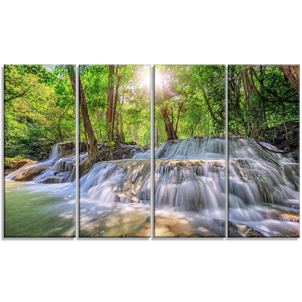 Designart Kanchanaburi Waterfall Photography Canvas Art Print - 4 Panels