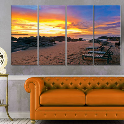 Designart Khao Lak Beach View At Sunset Modern Seashore Canvas Art - 4 Panels