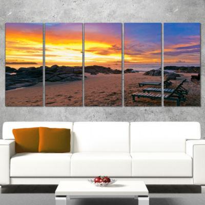 Designart Khao Lak Beach View At Sunset Modern Seashore Wrapped Canvas Art - 5 Panels