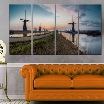 Designart Kinderijk Holland Panorama Landscape Artwork Canvas - 4 Panels