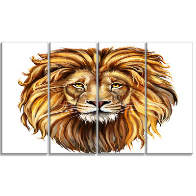 Designart King Lion Aslan Animal Art On Canvas - 4Panels