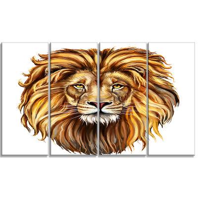 King Lion Aslan Animal Art On Canvas - 4 Panels