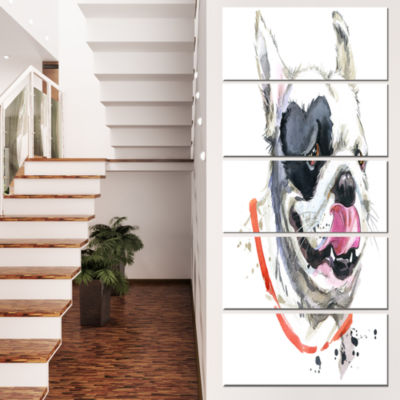 Designart Kiss French Bulldog Illustration AnimalCanvas Wall Art - 5 Panels