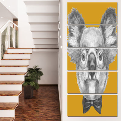 Koala With Glasses And Bow Tie Contemporary AnimalArt Canvas - 4 Panels