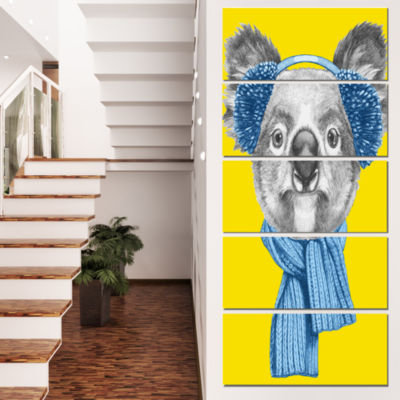 Designart Koala With Scarf And Earmuffs Animal Canvas Art Print - 4 Panels