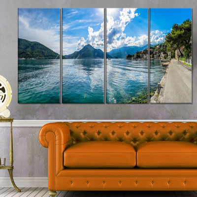 Kotor Bay On Summer Day Panorama Landscape CanvasArt Print - 4 Panels