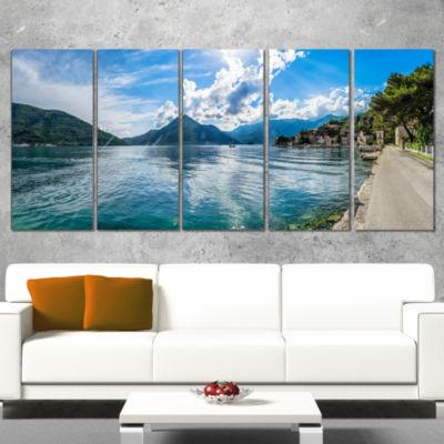 Designart Kotor Bay On Summer Day Panorama Landscape CanvasArt Print - 4 Panels