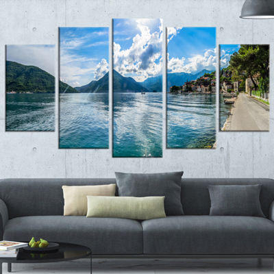 Designart Kotor Bay On Summer Day Panorama Landscape WrappedCanvas Art Print - 5 Panels