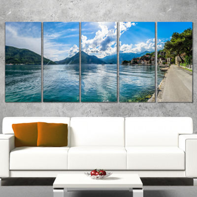 Designart Kotor Bay On Summer Day Panorama Landscape CanvasArt Print - 5 Panels