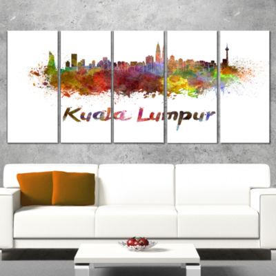 Designart Kuala Lumpur Skyline Cityscape Canvas Artwork Print - 5 Panels