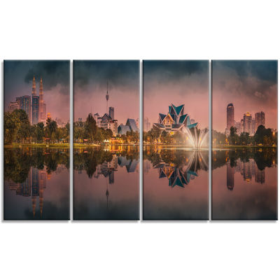 Kula Lumpur Night Scenery Landscape Canvas Art Print - 4 Panels