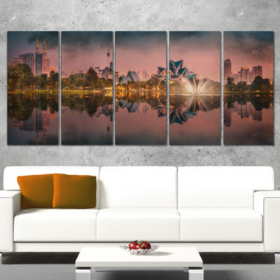 Designart Kula Lumpur Night Scenery Landscape Canvas Art Print - 5 Panels
