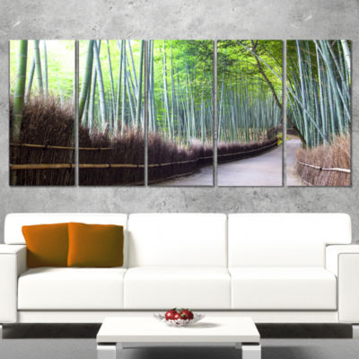 Designart Kyoto Bamboo Forest Pathway Forest Wrapped CanvasWall Art Print - 5 Panels