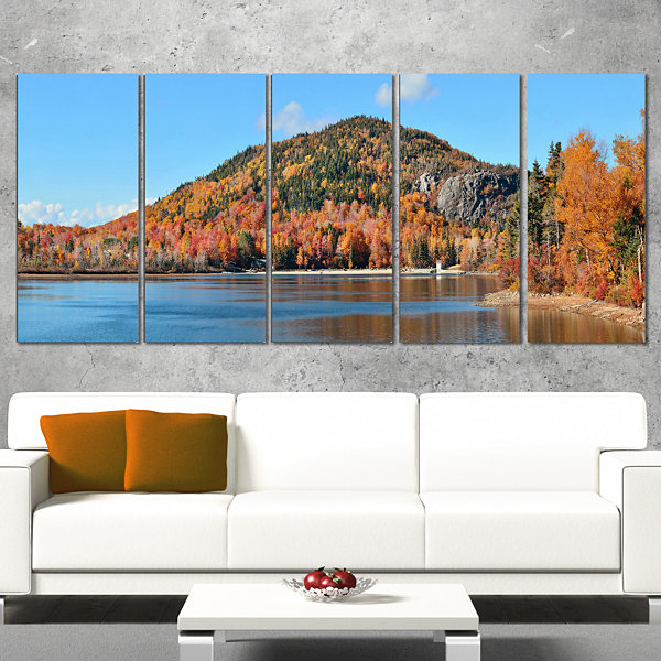 Designart Lake And Beautiful Autumn Foliage Landscape Artwork Canvas - 4 Panels