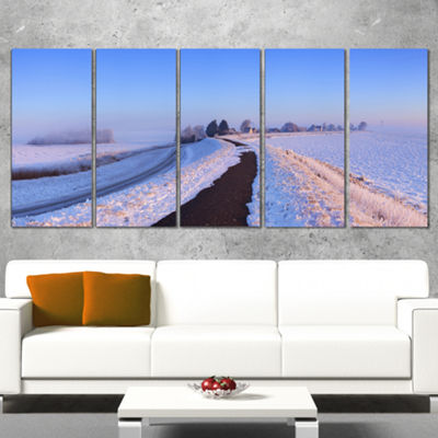 Designart Lake And Dike At Sunrise Panorama Landscape Wrapped Canvas Art Print - 5 Panels