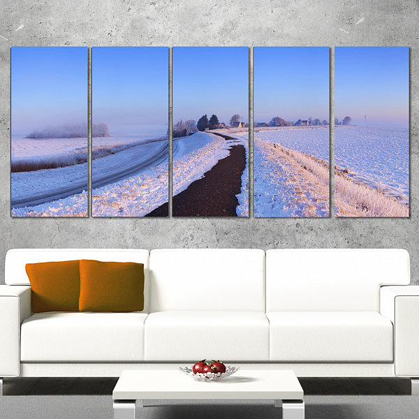 Designart Lake And Dike At Sunrise Panorama Landscape CanvasArt Print - 5 Panels