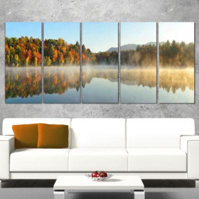 Designart Lake Autumn Foliage Fog Panorama ModernSeascape Wrapped Canvas Artwork - 5 Panels