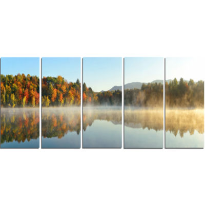 Lake Autumn Foliage Fog Panorama Modern Seascape Canvas Artwork - 5 Panels