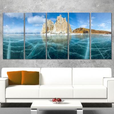 Designart Lake Baikal Ice And Rocks Panorama LargeSeascapeArt Canvas Print - 4 Panels