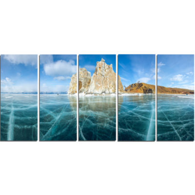 Lake Baikal Ice And Rocks Panorama Large SeascapeArt Canvas Print - 5 Panels