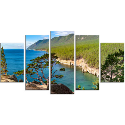 Designart Lake Baikal On Summer Day Landscape Wrapped CanvasArt Print - 5 Panels