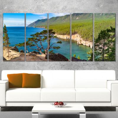 Designart Lake Baikal On Summer Day Landscape Wrapped CanvasArt Print - 5 Panels