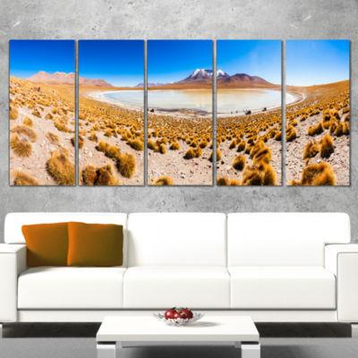 Designart Lake Bolivia Altipalno Panorama Modern Seascape Canvas Artwork - 4 Panels