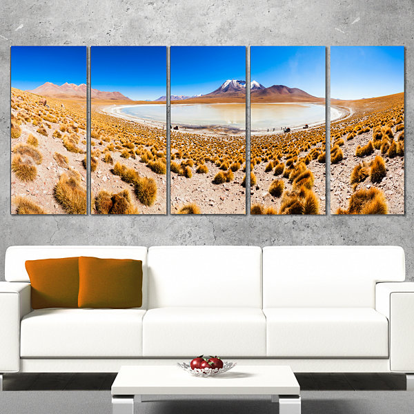 Designart Lake Bolivia Altipalno Panorama Modern Seascape Wrapped Canvas Artwork - 5 Panels