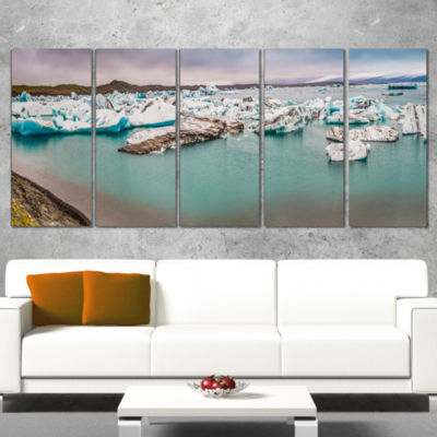 Designart Lake Full Of Icebergs Panorama LandscapeCanvas Art Print - 5 Panels
