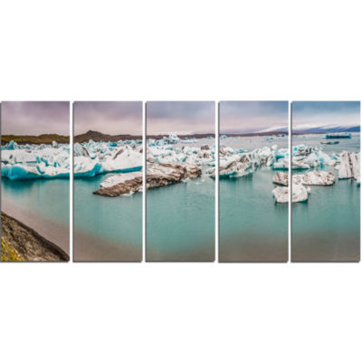 Lake Full Of Icebergs Panorama Landscape Canvas Art Print - 5 Panels