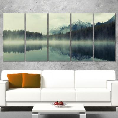 Lake Herbert In Foggy Morning Modern Seascape Wrapped Canvas Artwork - 5 Panels