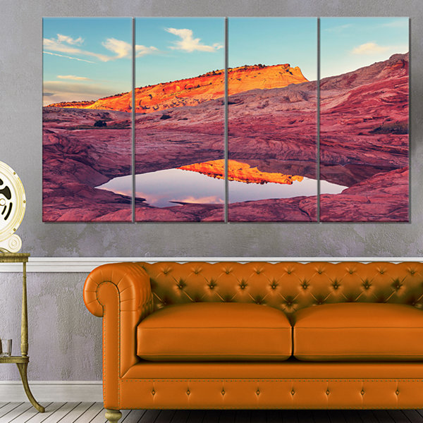 Designart Lake In National Monument Park OversizedLandscapeCanvas Art - 4 Panels