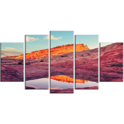Designart Lake In National Monument Park OversizedLandscapeWrapped Canvas Art - 5 Panels
