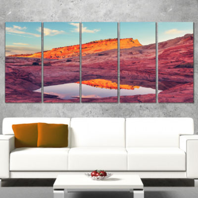 Designart Lake In National Monument Park OversizedLandscapeCanvas Art - 5 Panels