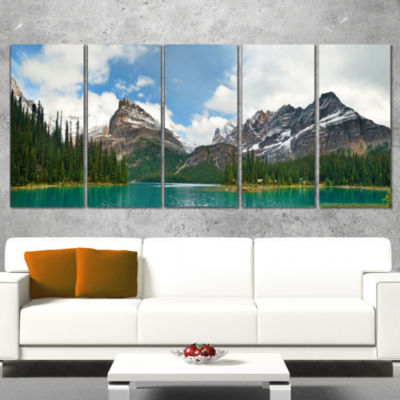 Designart Lake O Hara In Yoho National Park ModernSeascapeWrapped Canvas Artwork - 5 Panels