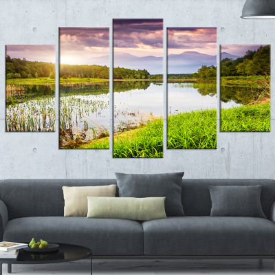 Designart Lake Under Overcast Sky Landscape Photography Canvas Art Print - 5 Panels