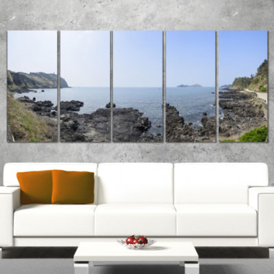 Designart Landscape Of Olle Walking Path OversizedBeach Wrapped Canvas Artwork - 5 Panels