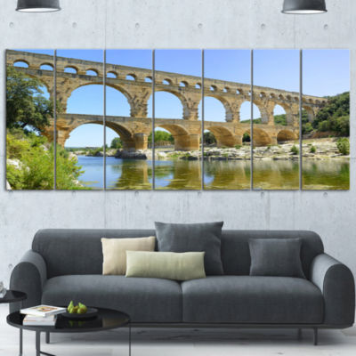 Roman Aqueduct Bridge in France Bridge Canvas WallArt - 7 Panels