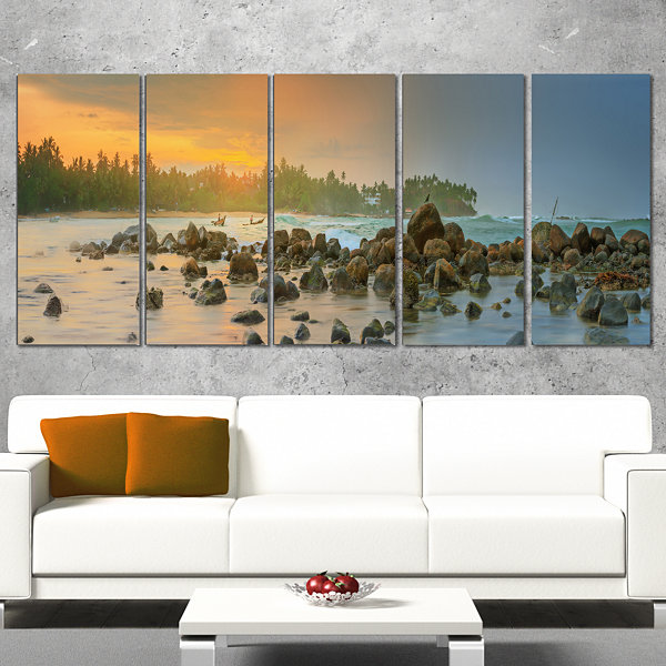 Designart Romantic Untouched Beach Sunset Landscape Canvas Art Print - 4 Panels
