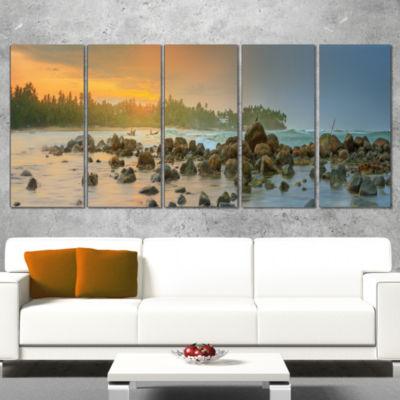 Designart Romantic Untouched Beach Sunset Landscape Canvas Art Print - 5 Panels
