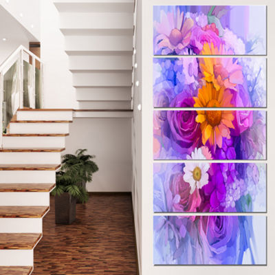 Designart Rose Daisy and Gerbera Flowers Large Floral CanvasArtwork - 5 Panels