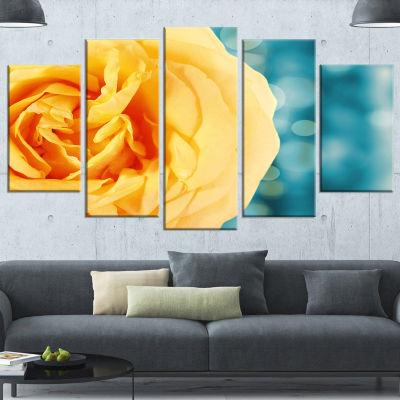 Designart Rose Flower with Lit Up Background LargeFloral Wrapped Artwork - 5 Panels