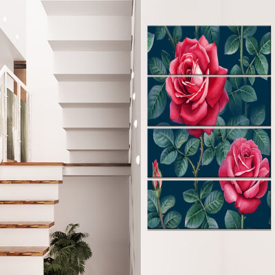 Rose Illustration Watercolor Floral Canvas Art Print - 4 Panels