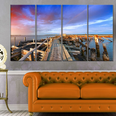 Abandoned Wooden Pier and Blue Sky Sea Bridge Canvas Art Print - 4 Panels