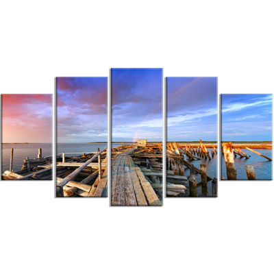 Designart Abandoned Wooden Pier and Blue Sky SeaBridge Wrapped Canvas Art Print - 5 Panels